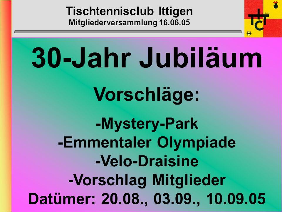 Tischtennisclub Ittigen Mitgliederversammlung 16.06.05 Klub- Meisterschaft Samstag, ???. Okt. 2005