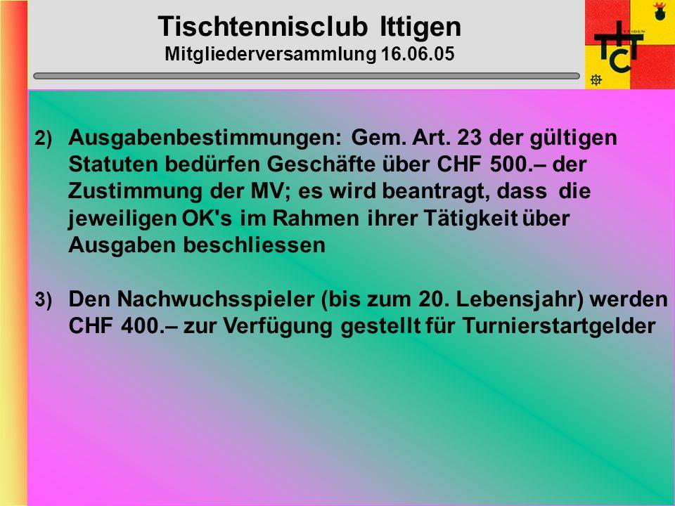 Tischtennisclub Ittigen Mitgliederversammlung 16.06.05 Anträge Vorstand 1)Beim Kauf des Ittiger-Leibchens leistet der TTC Ittigen einen Subventions-Beitrag in der entsprechenden Höhe, damit das (lizenzierte) Mitglied das Leibchen für CHF 30.– kaufen kann