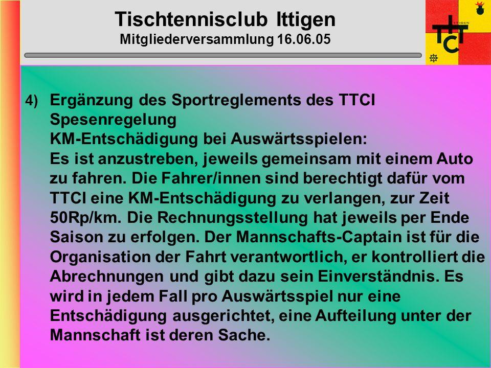 Tischtennisclub Ittigen Mitgliederversammlung 16.06.05 2) Ausgabenbestimmungen: Gem.