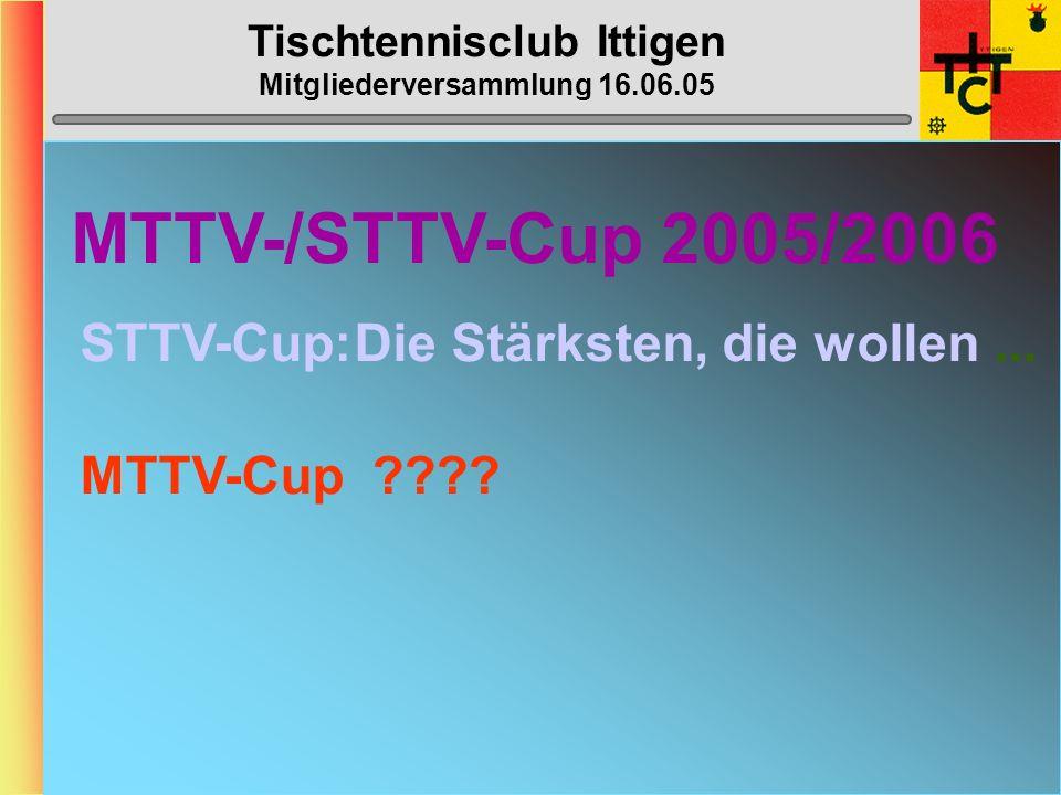 Tischtennisclub Ittigen Mitgliederversammlung 16.06.05 Ittigen O40 (3. Liga) ZIEL: ???