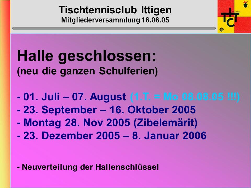 Tischtennisclub Ittigen Mitgliederversammlung 16.06.05 MTTV-/STTV-Cup 2005/2006 STTV-Cup:Die Stärksten, die wollen...