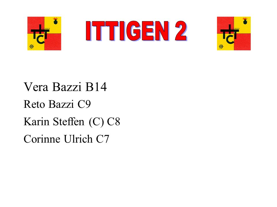 Vera Bazzi B14 Reto Bazzi C9 Karin Steffen (C) C8 Corinne Ulrich C7