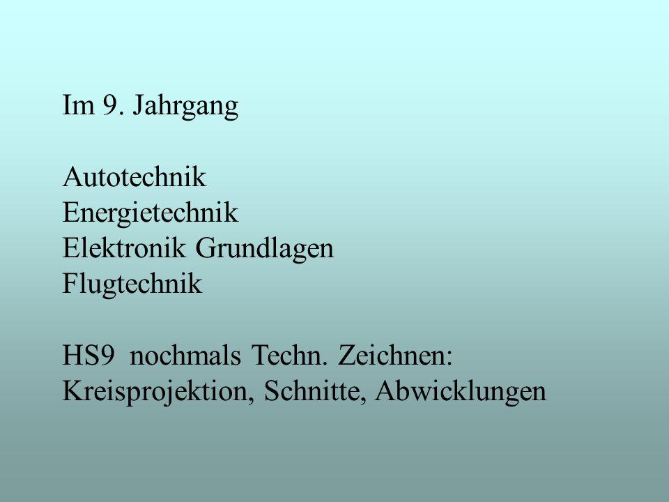 Im 9. Jahrgang Autotechnik Energietechnik Elektronik Grundlagen Flugtechnik HS9 nochmals Techn. Zeichnen: Kreisprojektion, Schnitte, Abwicklungen