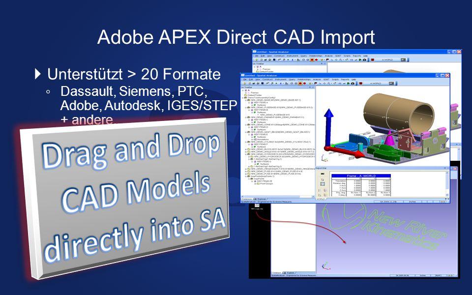 Unterstützt > 20 Formate Dassault, Siemens, PTC, Adobe, Autodesk, IGES/STEP + andere... Schneller Modelliert CAD Bauteile direkt in SA Ordner Drag and