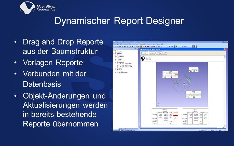 Drag and Drop Reporte aus der Baumstruktur Vorlagen Reporte Verbunden mit der Datenbasis Objekt-Änderungen und Aktualisierungen werden in bereits best
