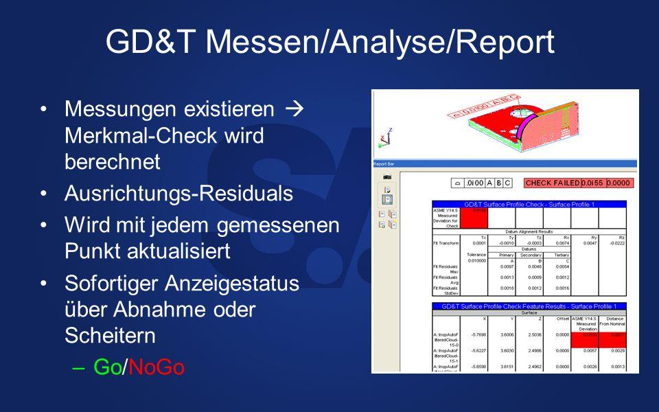 GD&T Messen/Analyse/Report Messungen existieren Merkmal-Check wird berechnet Ausrichtungs-Residuals Wird mit jedem gemessenen Punkt aktualisiert Sofor