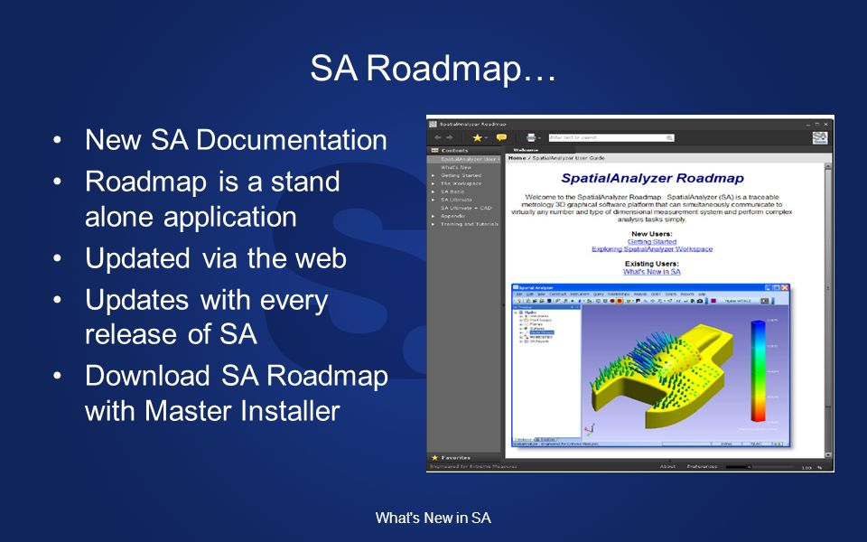 New SA Documentation Roadmap is a stand alone application Updated via the web Updates with every release of SA Download SA Roadmap with Master Installer What s New in SA SA Roadmap…