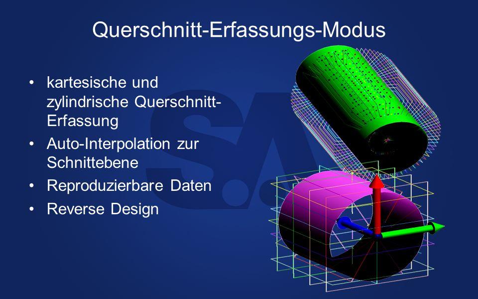 Querschnitt-Erfassungs-Modus kartesische und zylindrische Querschnitt- Erfassung Auto-Interpolation zur Schnittebene Reproduzierbare Daten Reverse Des