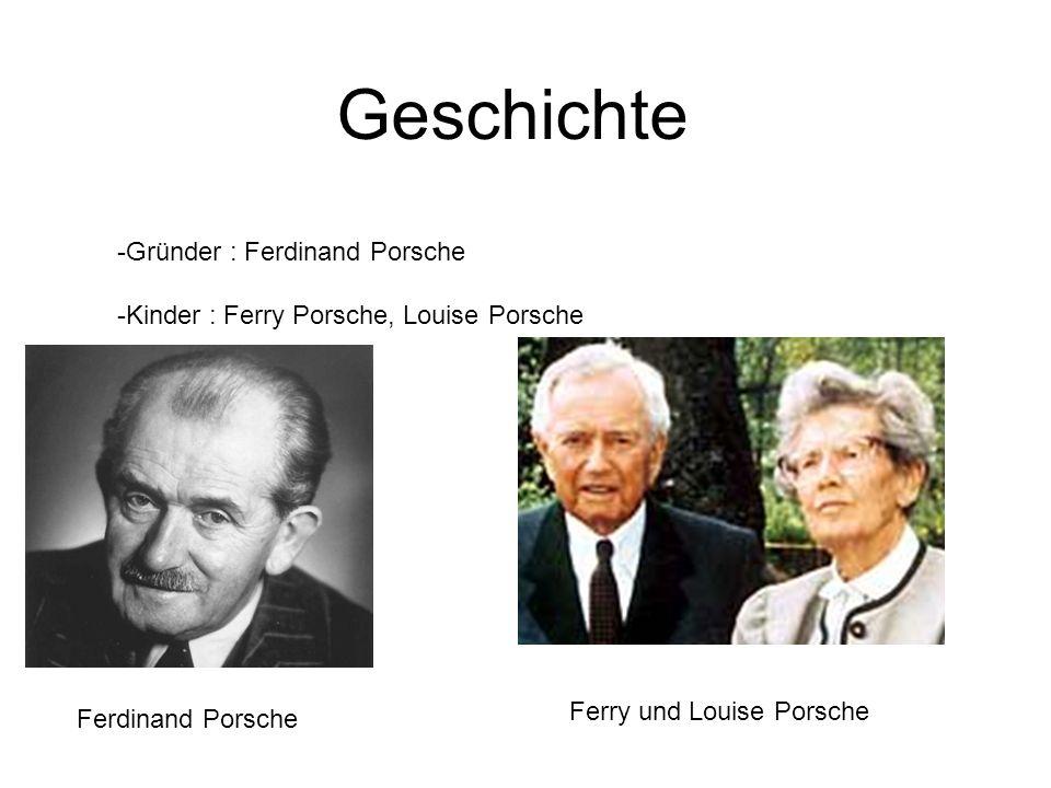 Geschichte -Gründer : Ferdinand Porsche -Kinder : Ferry Porsche, Louise Porsche Ferdinand Porsche Ferry und Louise Porsche