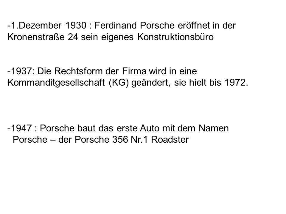 -1.Dezember 1930 : Ferdinand Porsche eröffnet in der Kronenstraße 24 sein eigenes Konstruktionsbüro -1937: Die Rechtsform der Firma wird in eine Komma