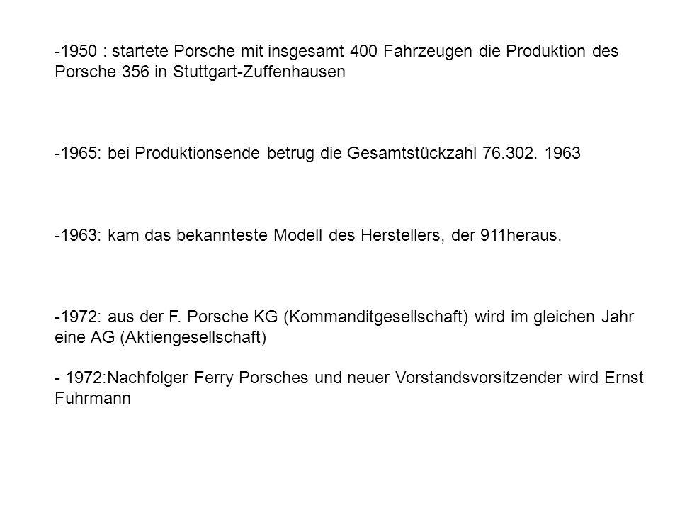 -1950 : startete Porsche mit insgesamt 400 Fahrzeugen die Produktion des Porsche 356 in Stuttgart-Zuffenhausen -1965: bei Produktionsende betrug die G