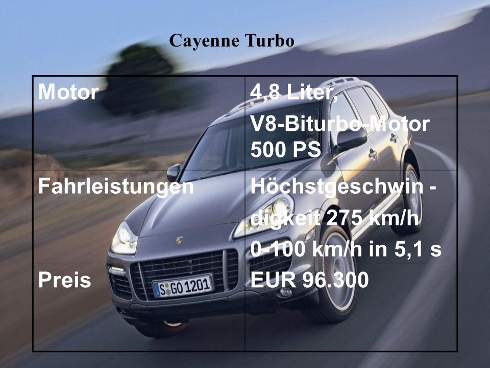Cayenne Turbo Motor4,8 Liter, V8-Biturbo-Motor 500 PS FahrleistungenHöchstgeschwin - digkeit 275 km/h 0-100 km/h in 5,1 s PreisEUR 96.300