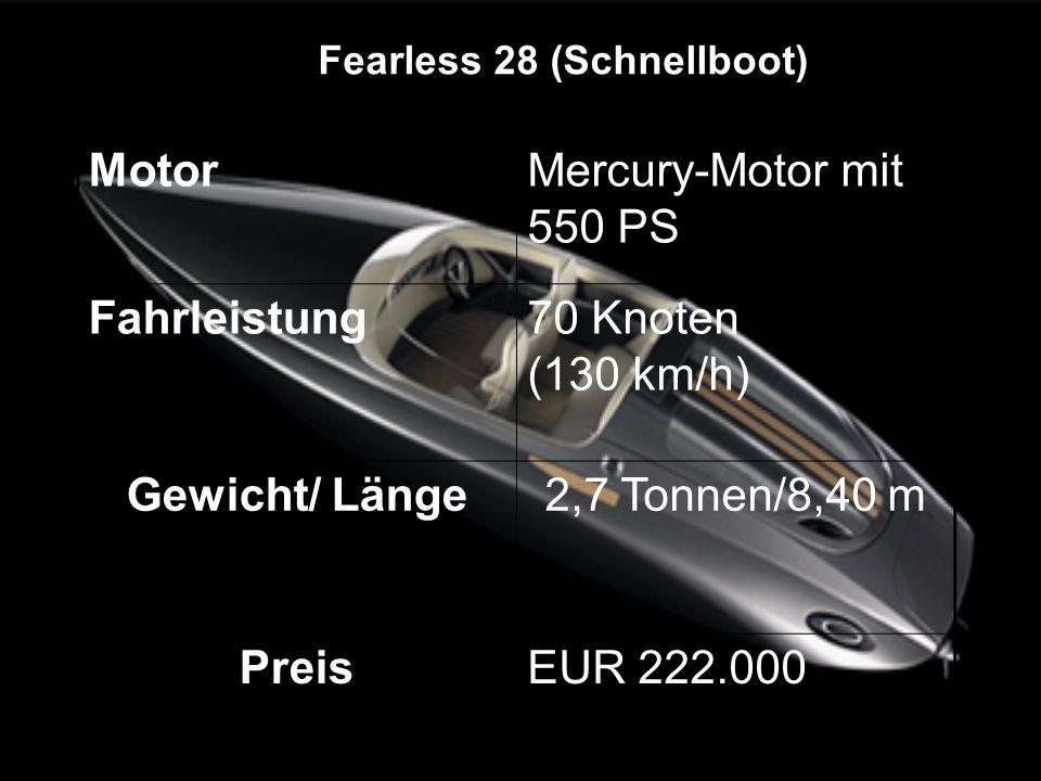 MotorMercury-Motor mit 550 PS Fahrleistung70 Knoten (130 km/h) Gewicht/ Länge2,7 Tonnen/8,40 m PreisEUR 222.000 Fearless 28 (Schnellboot)