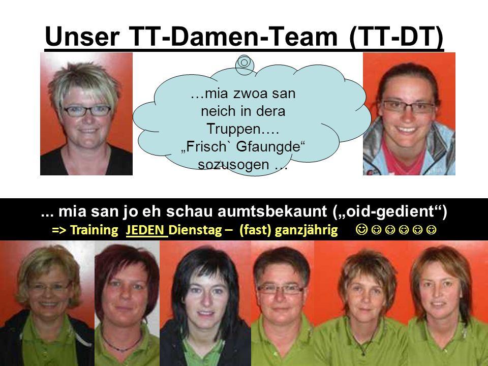 Unser TT-Damen-Team (TT-DT)... mia san jo eh schau aumtsbekaunt (oid-gedient) => Training JEDEN Dienstag – (fast) ganzjährig …mia zwoa san neich in de