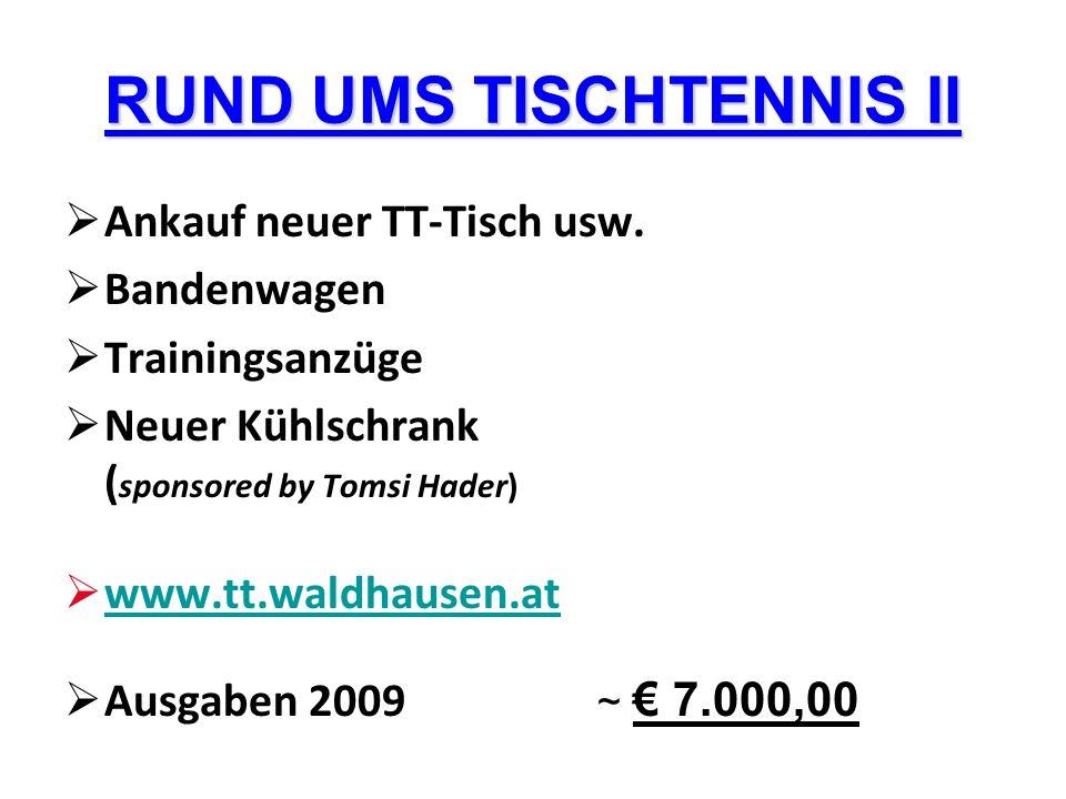 RUND UMS TISCHTENNIS II Ankauf neuer TT-Tisch usw. Bandenwagen Trainingsanzüge Neuer Kühlschrank ( sponsored by Tomsi Hader) www.tt.waldhausen.at Ausg