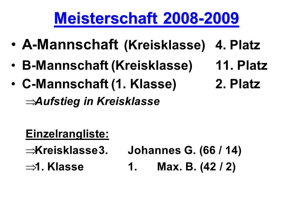 Meisterschaft 2008-2009 A-Mannschaft (Kreisklasse)4. Platz B-Mannschaft (Kreisklasse)11. Platz C-Mannschaft (1. Klasse)2. Platz A ufstieg in Kreisklas
