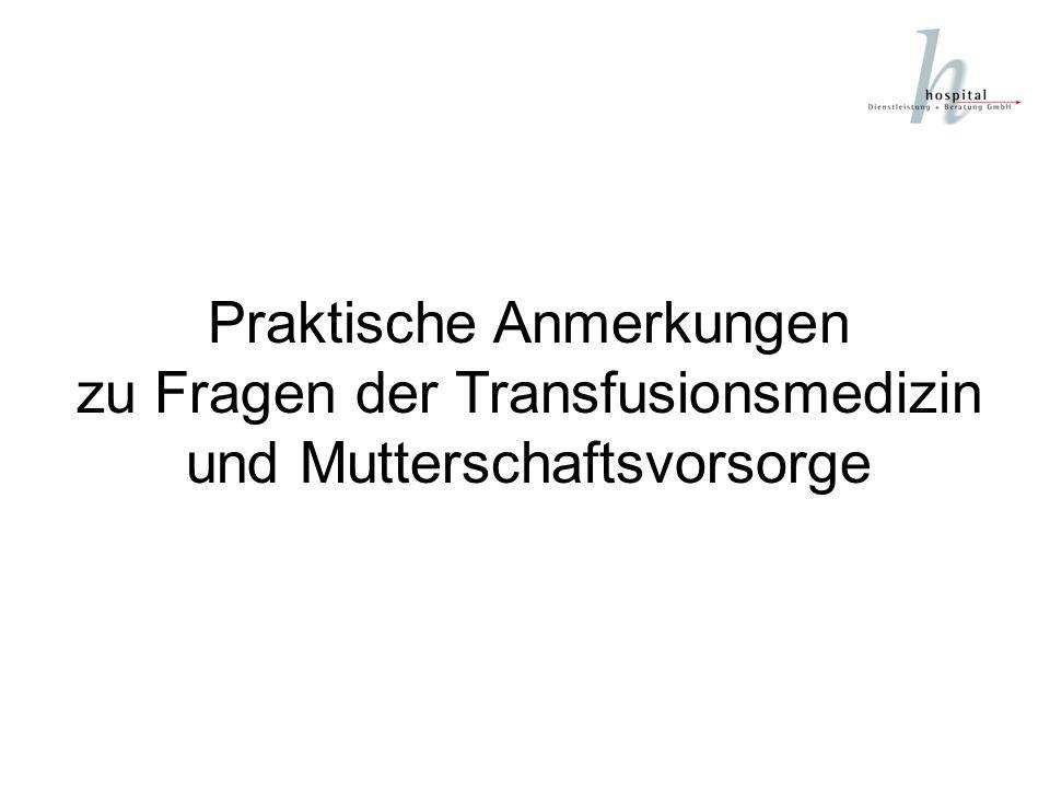 Offizielle Regelwerke für die Transfusionsmedizin Richtlinien zur Gewinnung von Blut und Blutbestandteilen und zur Anwendung von Blutprodukten (Hämotherapie) Aufgestellt vom Wissenschaftlichen Beirat der Bundesärztekammer und vom Paul-Ehrlich-Institut in der neu bearbeiteten Fassung 2000 (Blutgruppen-Richtlinien) Leitlinien zur Therapie mit Blutkomponenten und Plasmaderivaten Zweite überarbeitete Auflage, 2001 Herausgegeben vom Vorstand und Wissenschaftlichen Beirat der Bundesärztekammer Gesetz zur Regelung des Transfusionswesens (Transfusionsgesetz) Vom 1.