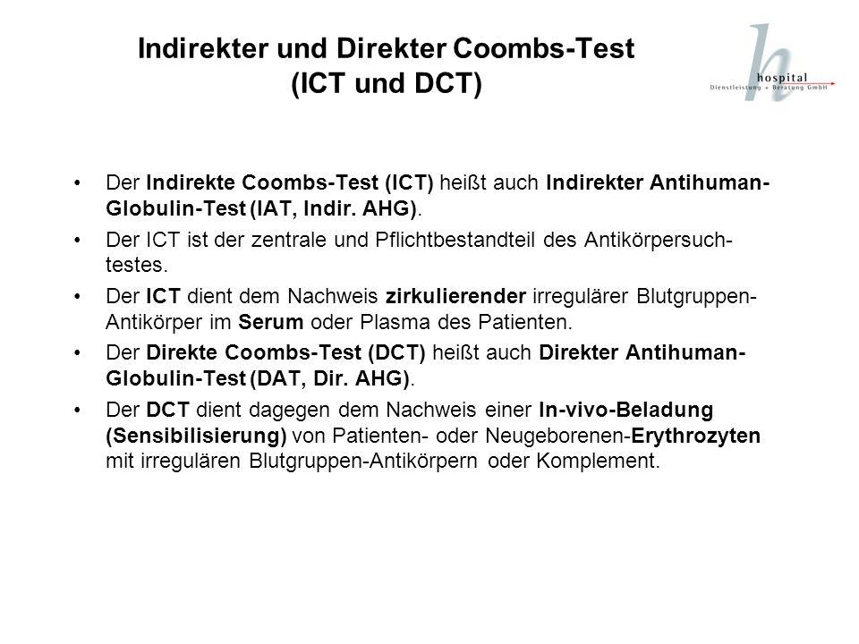 Indirekter und Direkter Coombs-Test (ICT und DCT) Der Indirekte Coombs-Test (ICT) heißt auch Indirekter Antihuman- Globulin-Test (IAT, Indir. AHG). De
