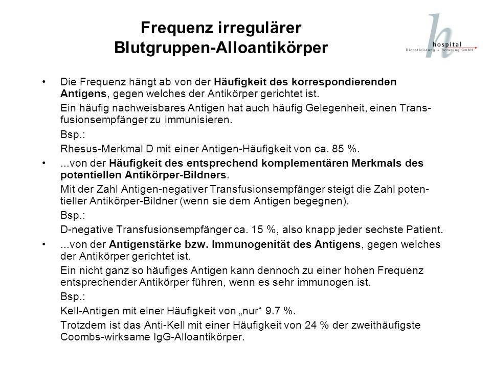 Frequenz irregulärer Blutgruppen-Alloantikörper Die Frequenz hängt ab von der Häufigkeit des korrespondierenden Antigens, gegen welches der Antikörper