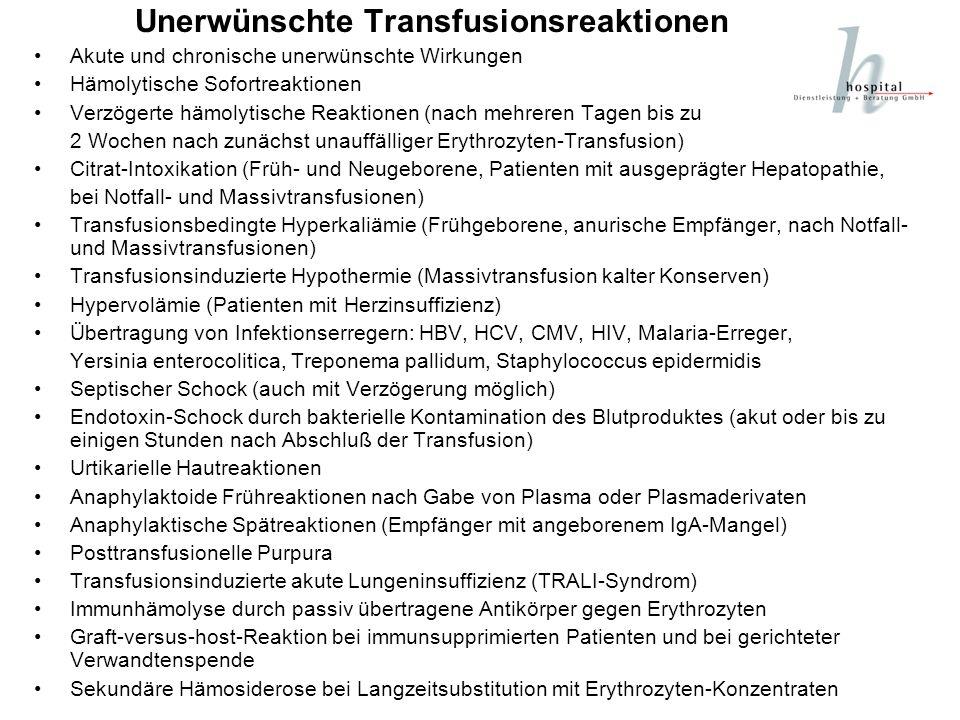Unerwünschte Transfusionsreaktionen Akute und chronische unerwünschte Wirkungen Hämolytische Sofortreaktionen Verzögerte hämolytische Reaktionen (nach
