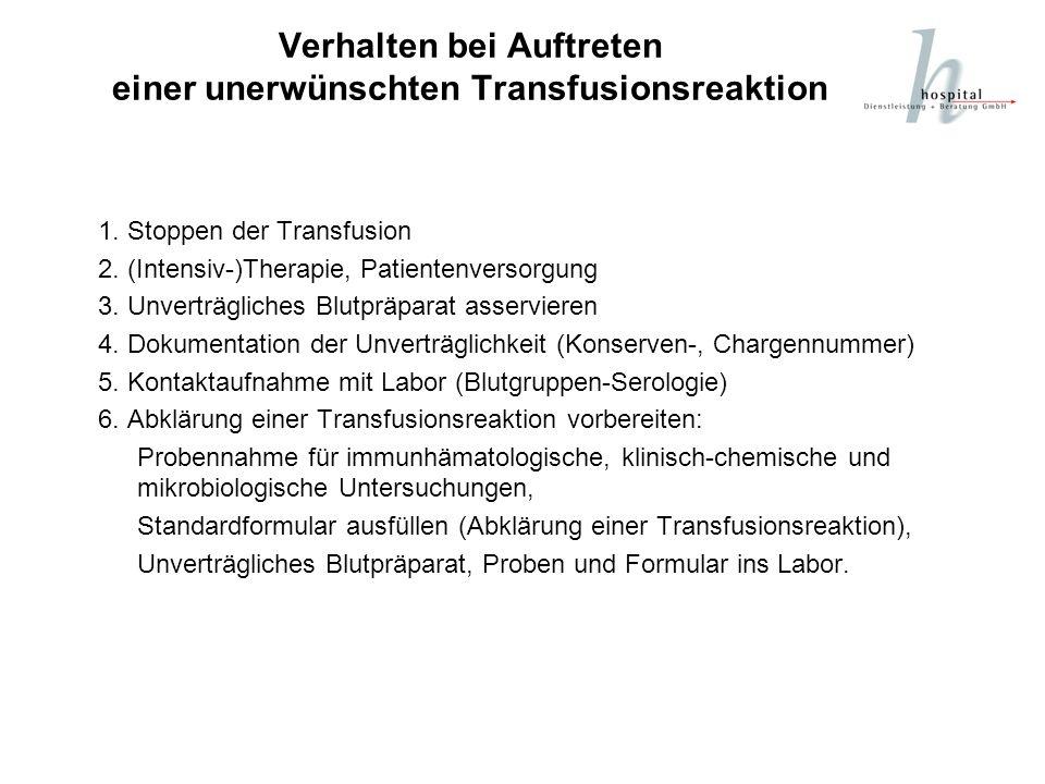 Verhalten bei Auftreten einer unerwünschten Transfusionsreaktion 1. Stoppen der Transfusion 2. (Intensiv-)Therapie, Patientenversorgung 3. Unverträgli