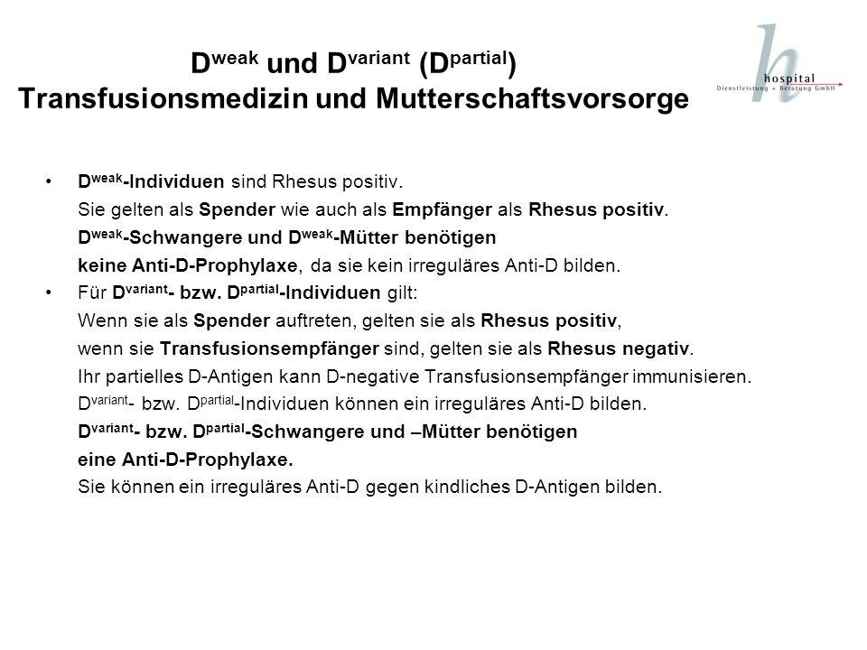 D weak und D variant (D partial ) Transfusionsmedizin und Mutterschaftsvorsorge D weak -Individuen sind Rhesus positiv. Sie gelten als Spender wie auc