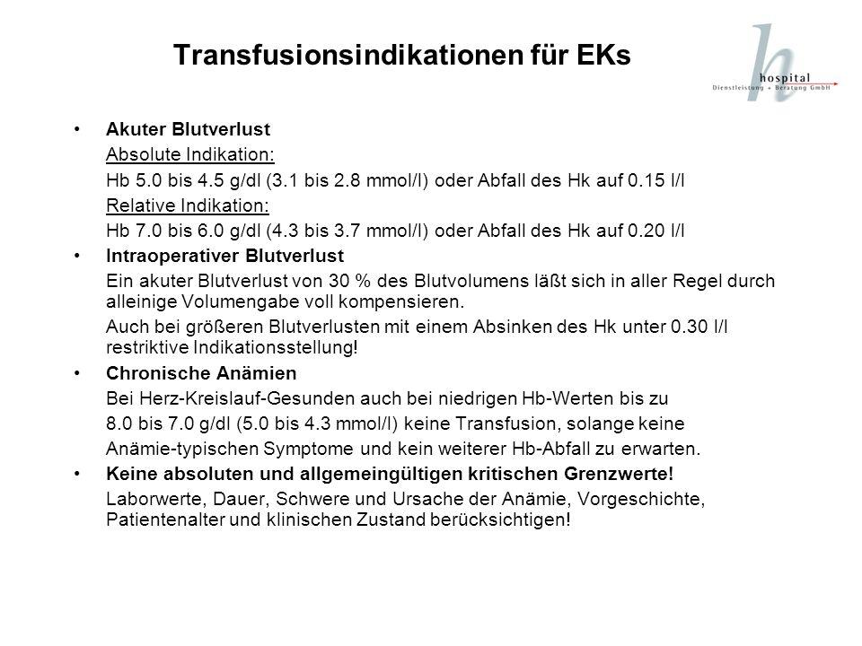 Transfusionsindikationen für EKs Akuter Blutverlust Absolute Indikation: Hb 5.0 bis 4.5 g/dl (3.1 bis 2.8 mmol/l) oder Abfall des Hk auf 0.15 l/l Rela