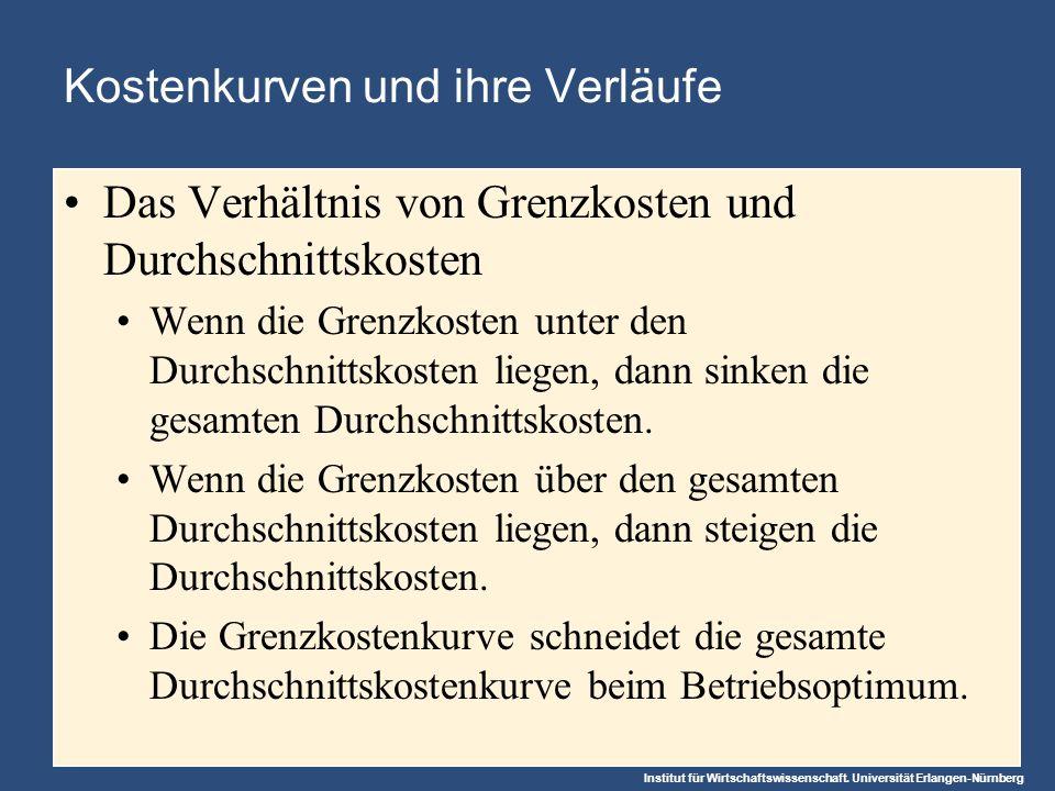 Institut für Wirtschaftswissenschaft. Universität Erlangen-Nürnberg Kostenkurven und ihre Verläufe Das Verhältnis von Grenzkosten und Durchschnittskos
