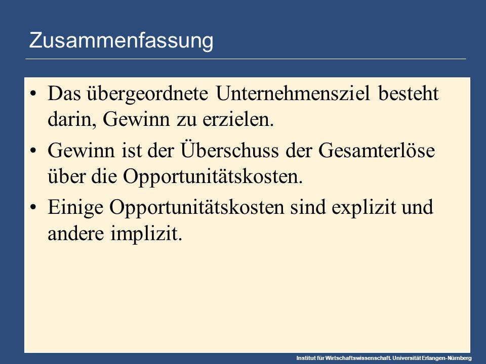 Institut für Wirtschaftswissenschaft. Universität Erlangen-Nürnberg Zusammenfassung Das übergeordnete Unternehmensziel besteht darin, Gewinn zu erziel