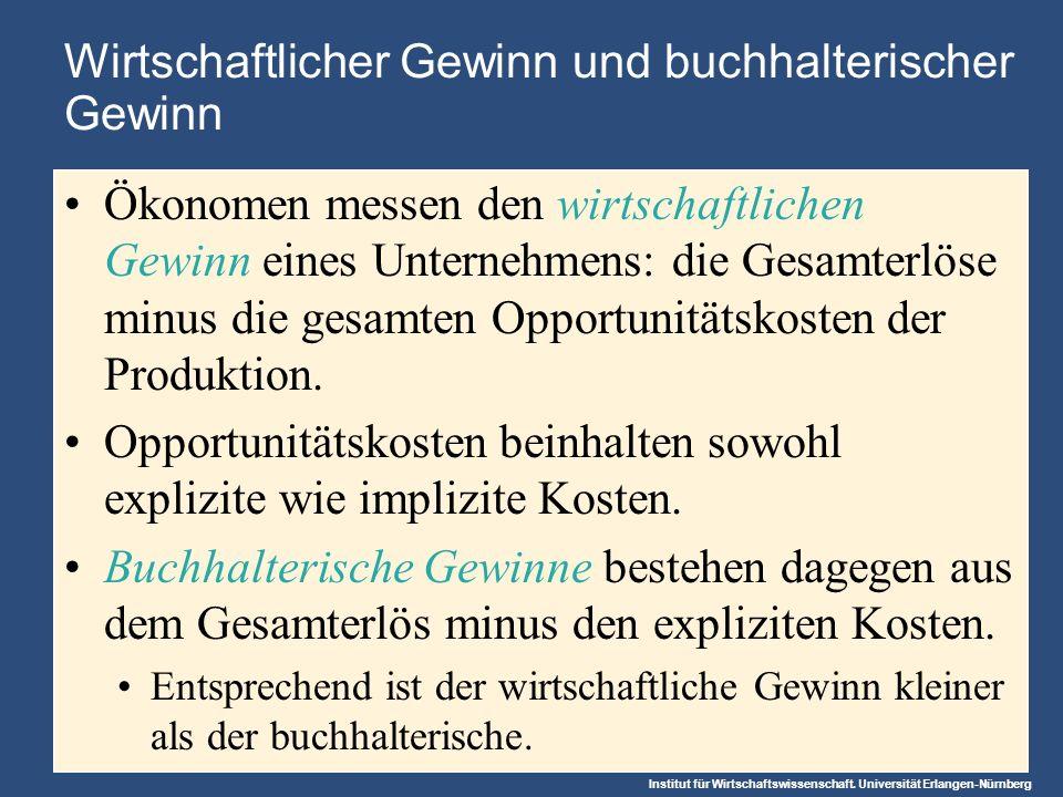 Institut für Wirtschaftswissenschaft. Universität Erlangen-Nürnberg Wirtschaftlicher Gewinn und buchhalterischer Gewinn Ökonomen messen den wirtschaft
