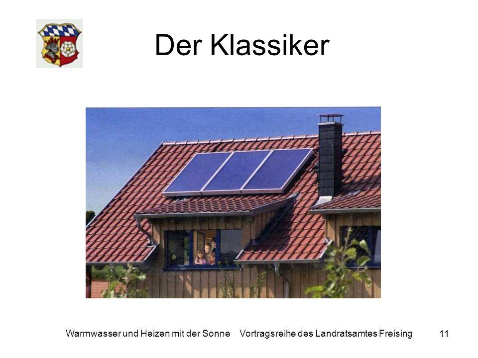11 Warmwasser und Heizen mit der Sonne Vortragsreihe des Landratsamtes Freising Der Klassiker