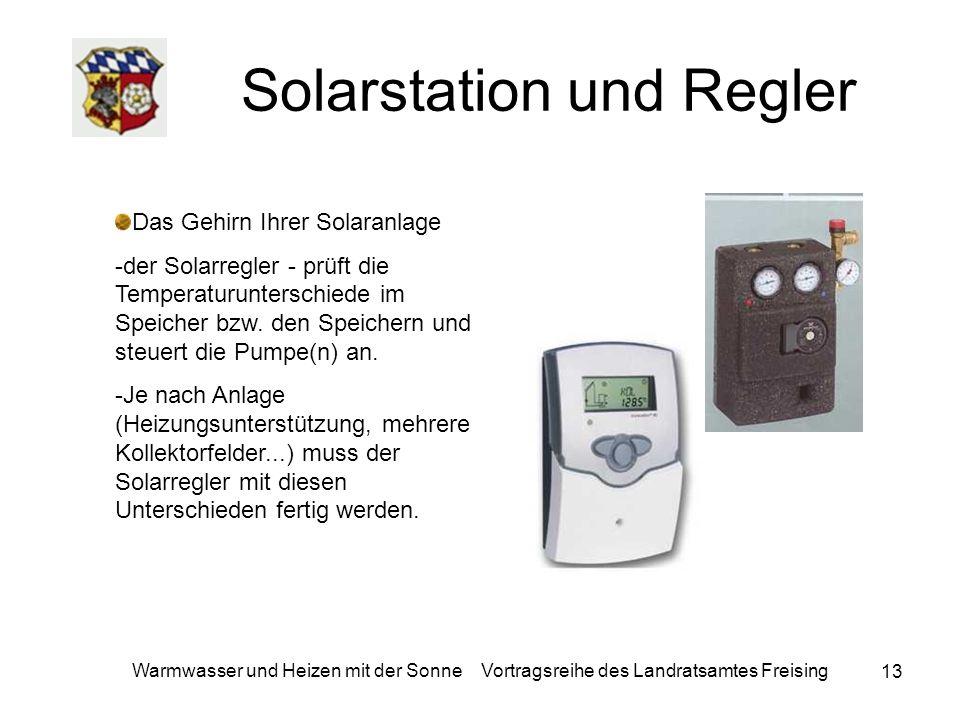 13 Warmwasser und Heizen mit der Sonne Vortragsreihe des Landratsamtes Freising Solarstation und Regler Das Gehirn Ihrer Solaranlage -der Solarregler