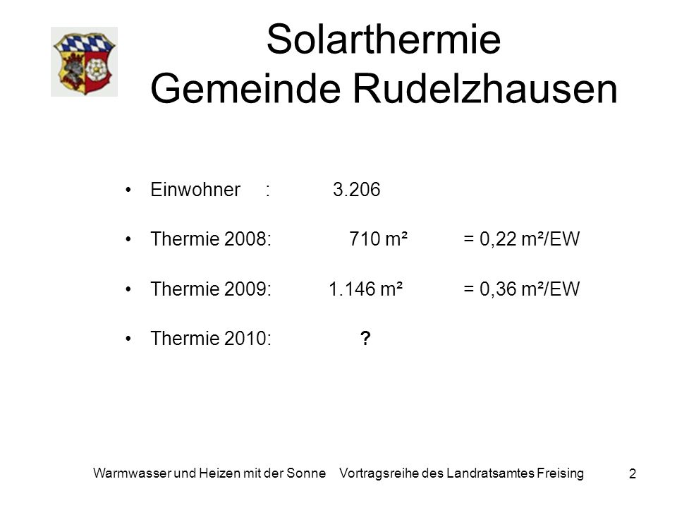 Warmwasser und Heizen mit der Sonne Vortragsreihe des Landratsamtes Freising 2 Solarthermie Gemeinde Rudelzhausen Einwohner : 3.206 Thermie 2008: 710