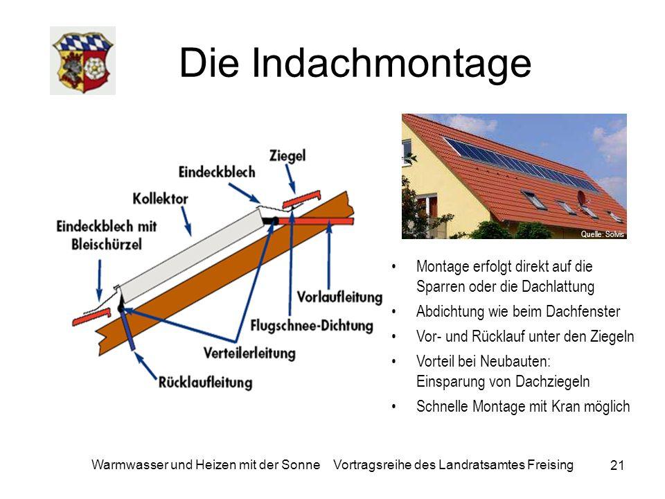 21 Warmwasser und Heizen mit der Sonne Vortragsreihe des Landratsamtes Freising Die Indachmontage Montage erfolgt direkt auf die Sparren oder die Dach