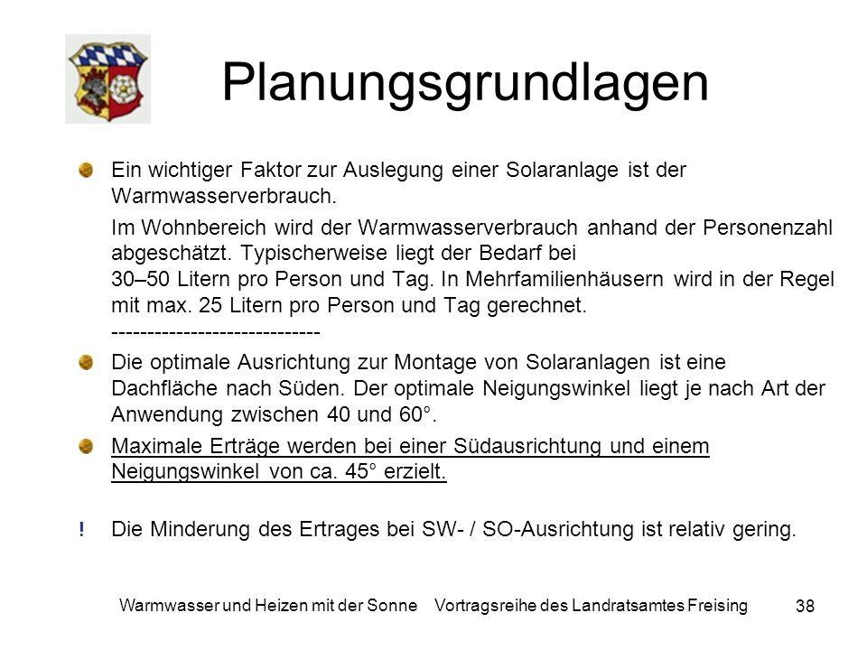 38 Warmwasser und Heizen mit der Sonne Vortragsreihe des Landratsamtes Freising Planungsgrundlagen Ein wichtiger Faktor zur Auslegung einer Solaranlag