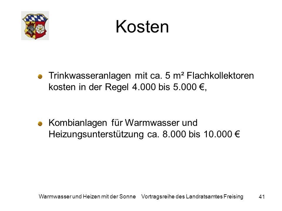 41 Warmwasser und Heizen mit der Sonne Vortragsreihe des Landratsamtes Freising Kosten Trinkwasseranlagen mit ca. 5 m² Flachkollektoren kosten in der