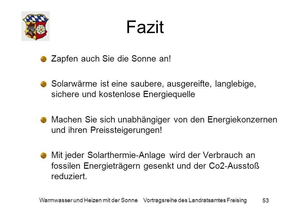 53 Warmwasser und Heizen mit der Sonne Vortragsreihe des Landratsamtes Freising Fazit Zapfen auch Sie die Sonne an! Solarwärme ist eine saubere, ausge