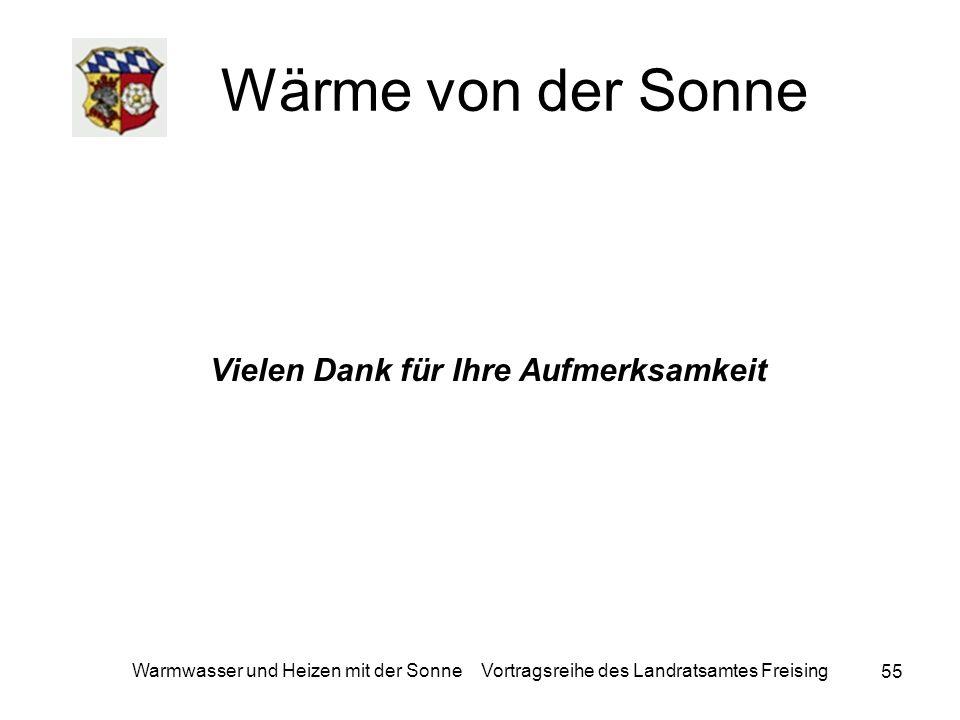 55 Warmwasser und Heizen mit der Sonne Vortragsreihe des Landratsamtes Freising Wärme von der Sonne Vielen Dank für Ihre Aufmerksamkeit