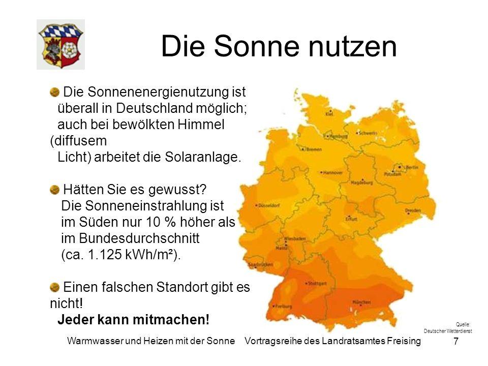7 Warmwasser und Heizen mit der Sonne Vortragsreihe des Landratsamtes Freising Die Sonne nutzen Die Sonnenenergienutzung ist überall in Deutschland mö