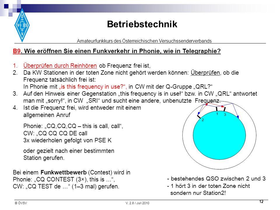 Amateurfunkkurs des Österreichischen Versuchssenderverbands Betriebstechnik © ÖVSVV. 2.8 / Juli 2010 12 - bestehendes QSO zwischen 2 und 3 - 1 hört 3