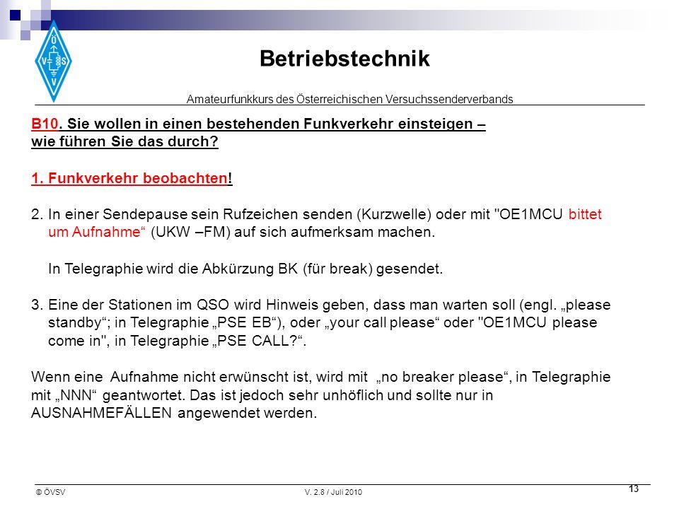 Amateurfunkkurs des Österreichischen Versuchssenderverbands Betriebstechnik © ÖVSVV. 2.8 / Juli 2010 13 B10. Sie wollen in einen bestehenden Funkverke