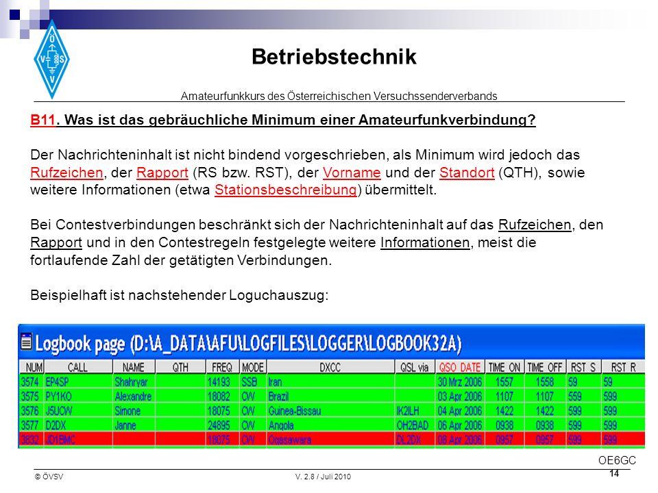 Amateurfunkkurs des Österreichischen Versuchssenderverbands Betriebstechnik © ÖVSVV. 2.8 / Juli 2010 14 B11. Was ist das gebräuchliche Minimum einer A