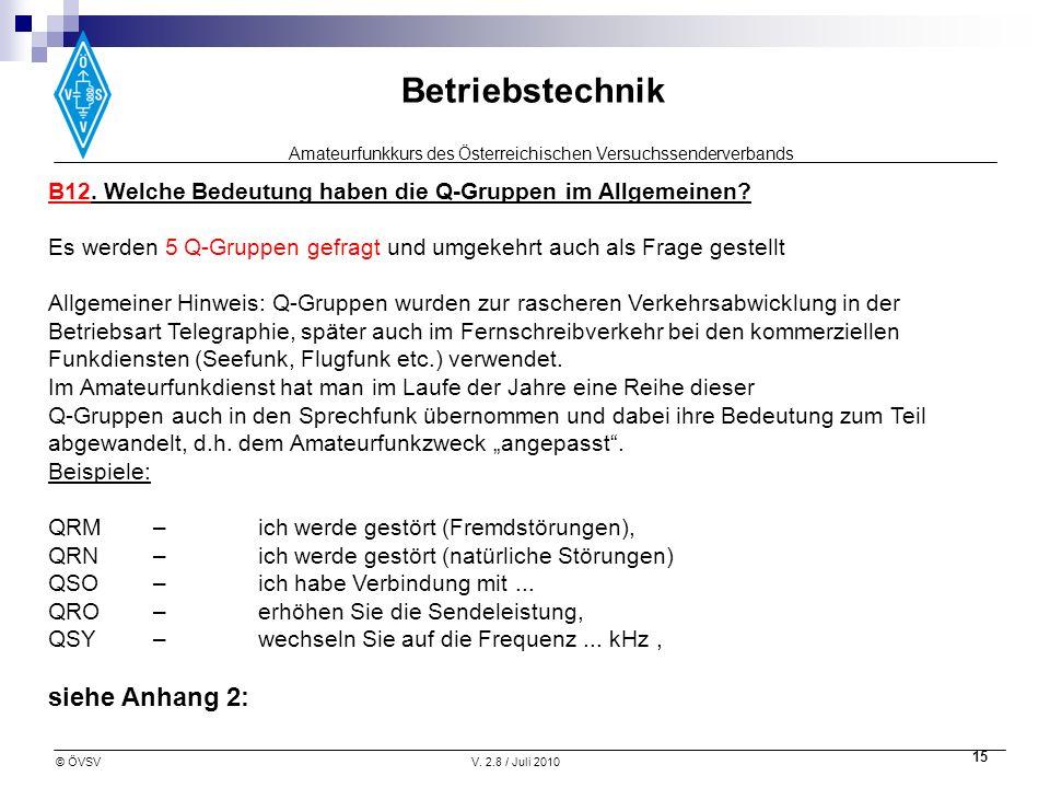 Amateurfunkkurs des Österreichischen Versuchssenderverbands Betriebstechnik © ÖVSVV. 2.8 / Juli 2010 15 B12. Welche Bedeutung haben die Q-Gruppen im A