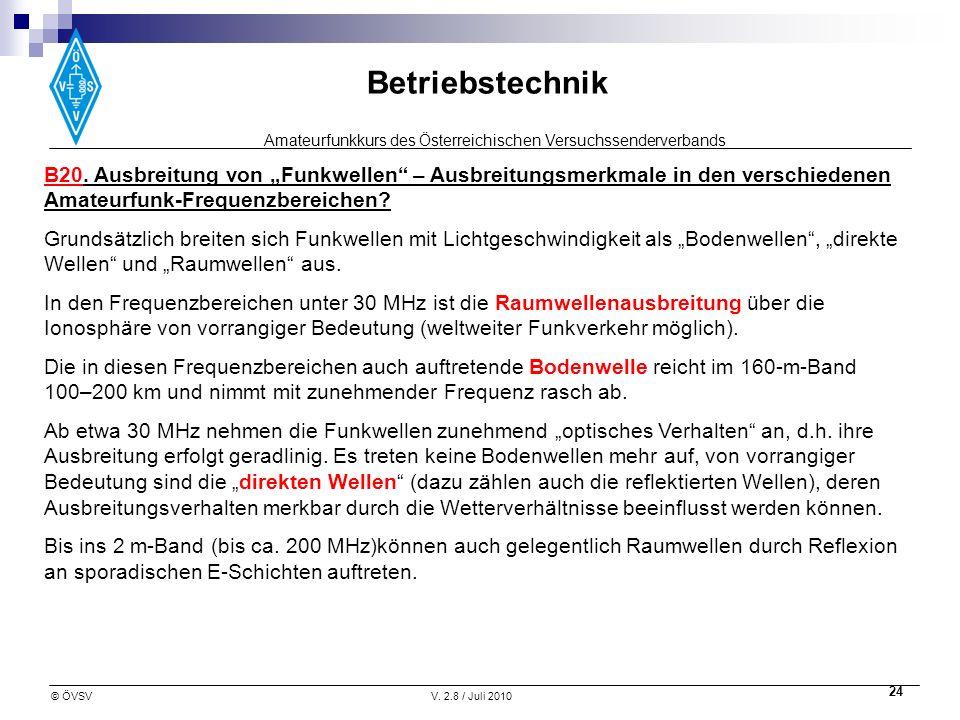 Amateurfunkkurs des Österreichischen Versuchssenderverbands Betriebstechnik © ÖVSVV. 2.8 / Juli 2010 24 B20. Ausbreitung von Funkwellen – Ausbreitungs