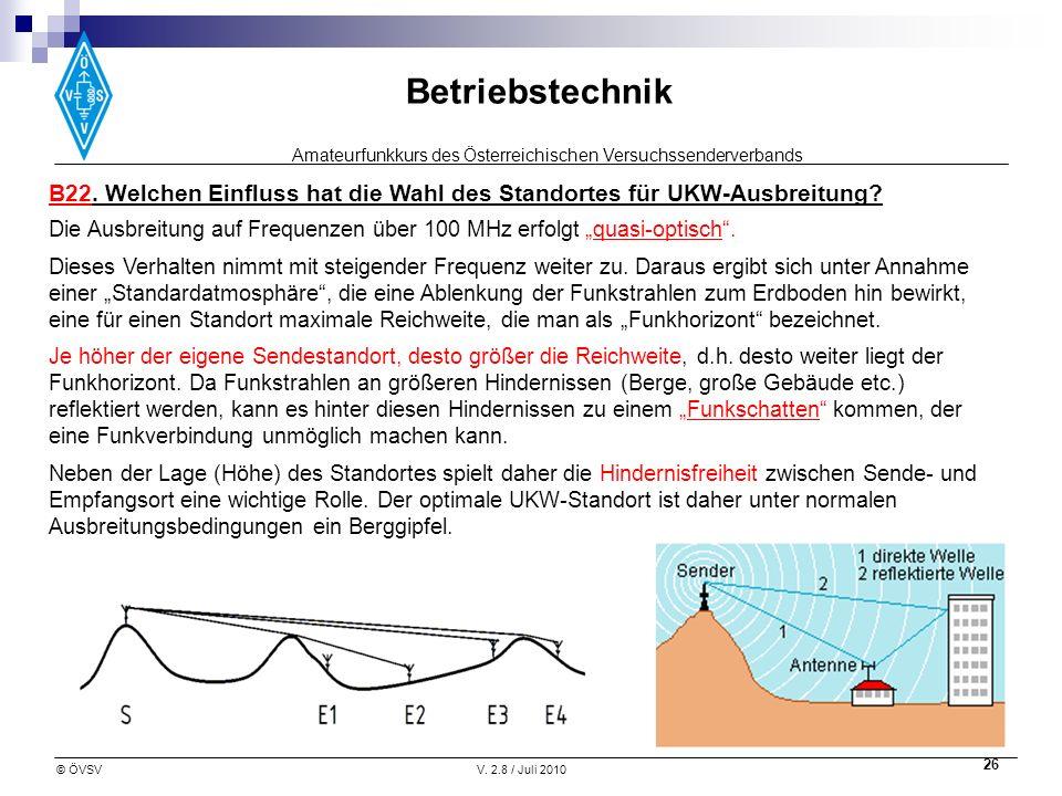 Amateurfunkkurs des Österreichischen Versuchssenderverbands Betriebstechnik © ÖVSVV. 2.8 / Juli 2010 26 B22. Welchen Einfluss hat die Wahl des Standor