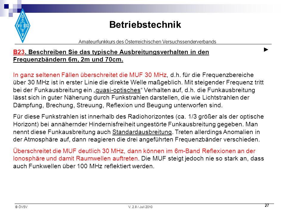 Amateurfunkkurs des Österreichischen Versuchssenderverbands Betriebstechnik © ÖVSVV. 2.8 / Juli 2010 27 B23. Beschreiben Sie das typische Ausbreitungs