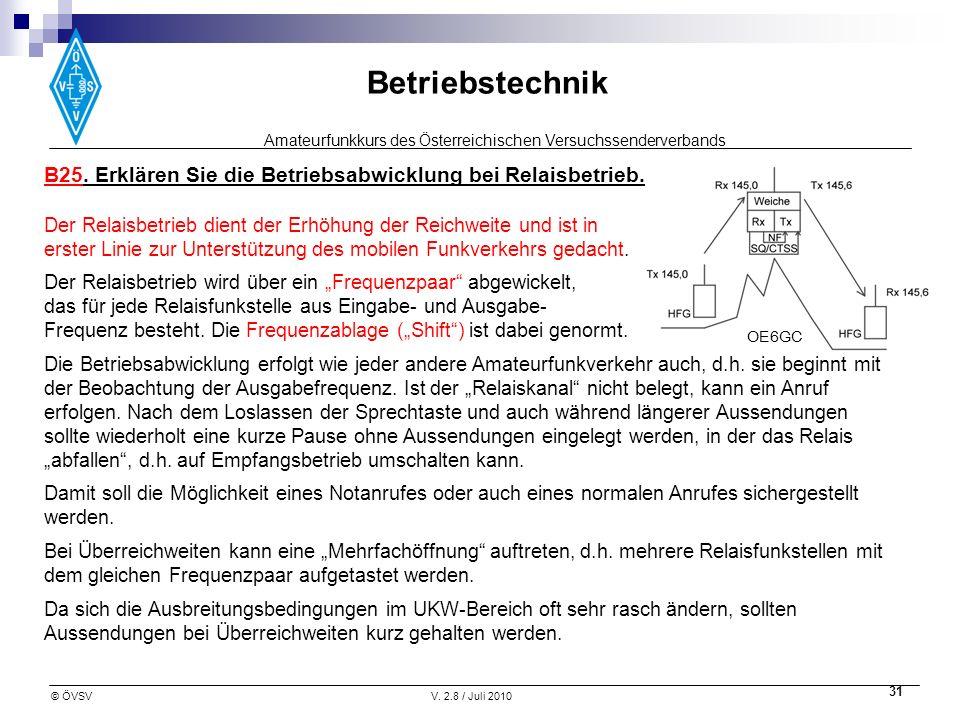 Amateurfunkkurs des Österreichischen Versuchssenderverbands Betriebstechnik © ÖVSVV. 2.8 / Juli 2010 31 B25. Erklären Sie die Betriebsabwicklung bei R