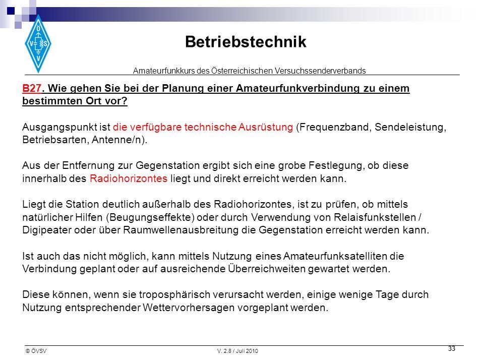 Amateurfunkkurs des Österreichischen Versuchssenderverbands Betriebstechnik © ÖVSVV. 2.8 / Juli 2010 33 B27. Wie gehen Sie bei der Planung einer Amate