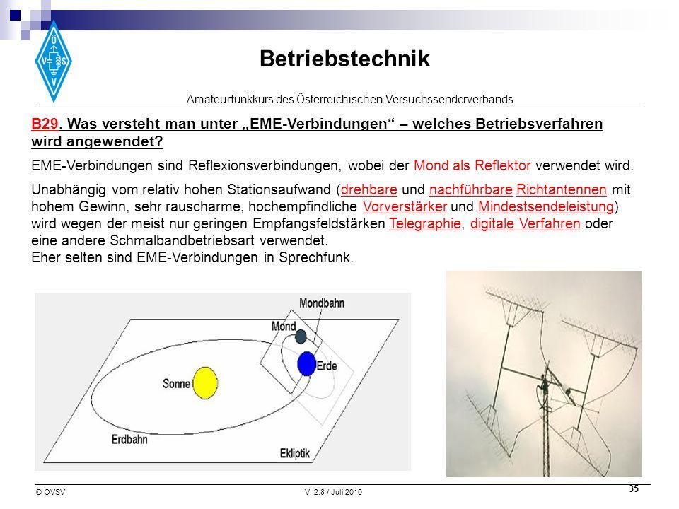 Amateurfunkkurs des Österreichischen Versuchssenderverbands Betriebstechnik © ÖVSVV. 2.8 / Juli 2010 35 B29. Was versteht man unter EME-Verbindungen –