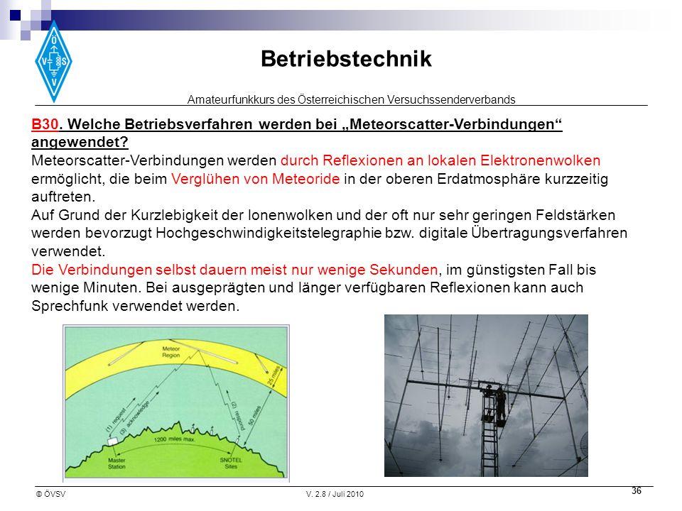 Amateurfunkkurs des Österreichischen Versuchssenderverbands Betriebstechnik © ÖVSVV. 2.8 / Juli 2010 36 B30. Welche Betriebsverfahren werden bei Meteo